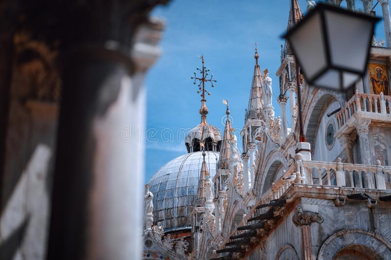 Close up of St Mark`s Cupel on the top of Basilica di San Marco, St Mark`s Basilica in Venice, Italy. Detailed facade royalty free stock photo