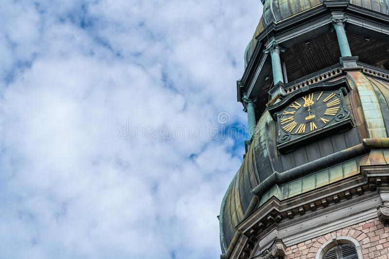St.Peter`s chuch bell tower in Riga, Latvia. Close up of St.Peter`s chuch bell tower in Riga, Latvia stock photography