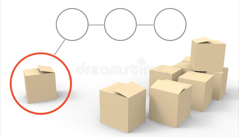 Close up stack of boxes Parcel Package Groups on white background vector illustration