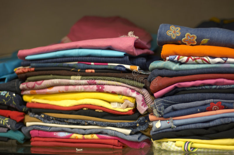 Close-up of a stack of clothes stock image