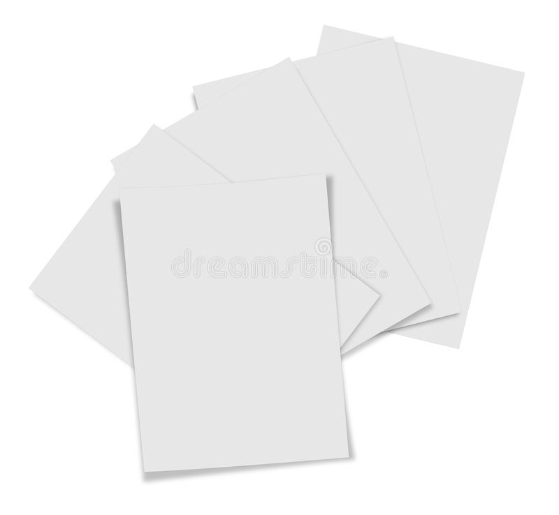 Close up of stack of papers on white background stock image