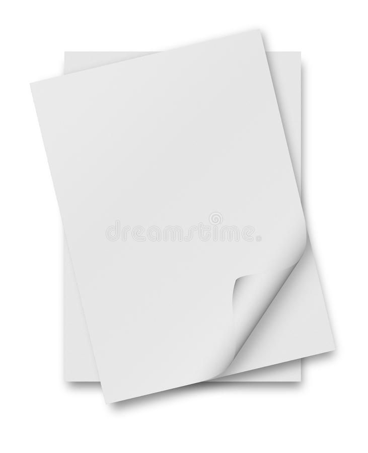 Close up of stack of papers with curl. On white background stock illustration