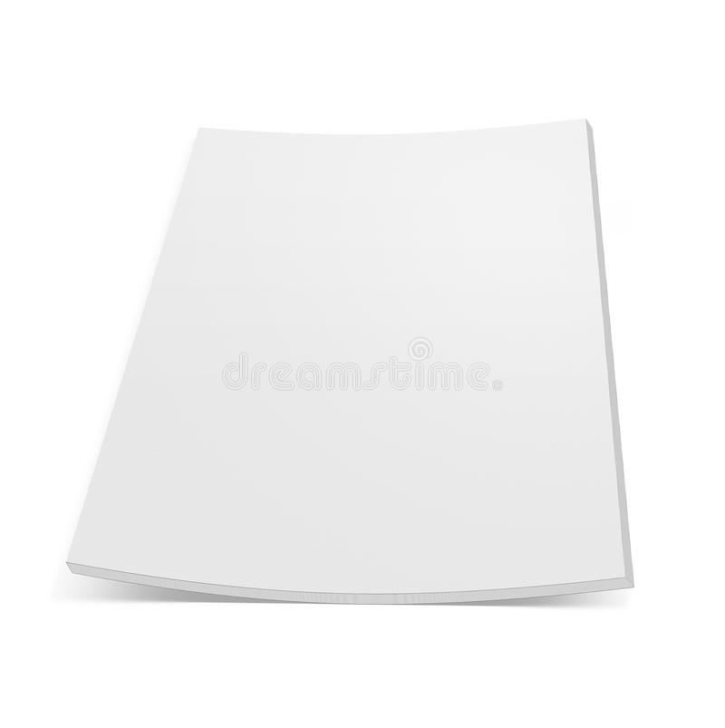 Close up stack of papers with curl on white. Background vector illustration