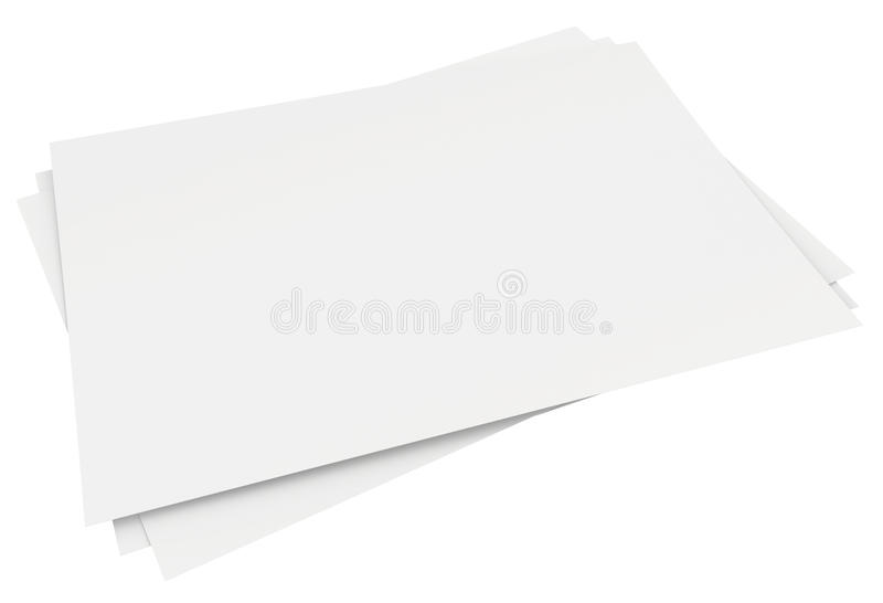 Close up stack of papers on white background stock illustration