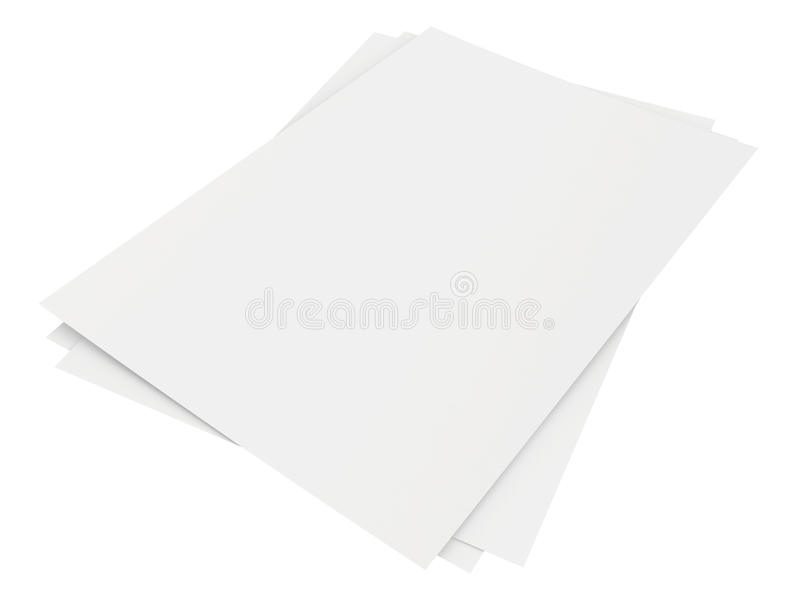 Close up stack of papers on white background. Close up of stack of papers on white background stock illustration