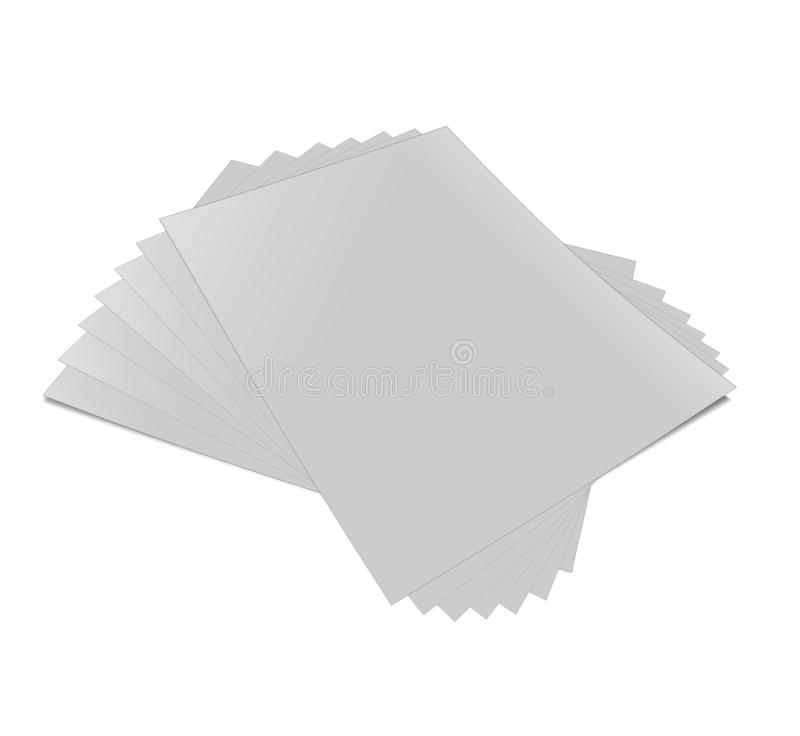 Close up of stack. Of papers on white background vector illustration
