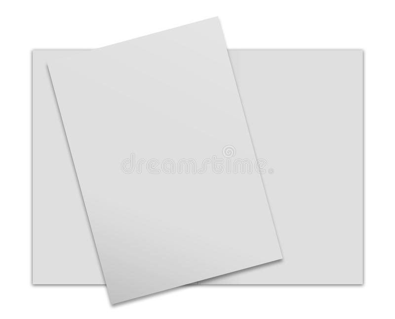 Close up of stack. Of papers on white background royalty free illustration