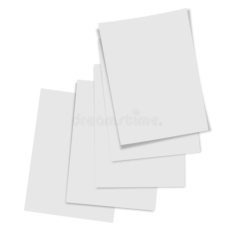 Close up stack of papers on white background. Collection of various blank white paper on white background stock illustration