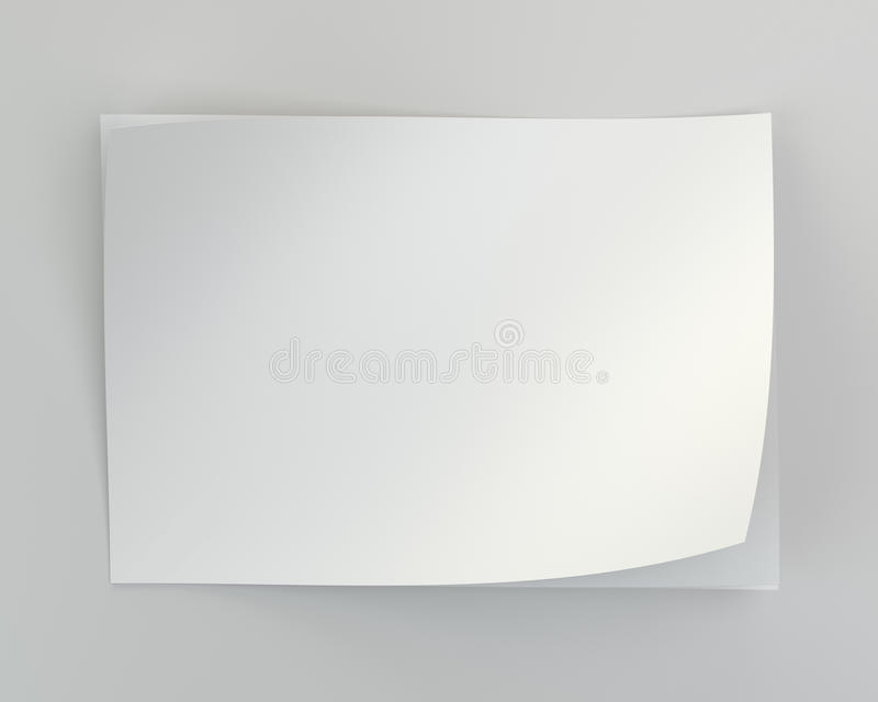 Close up of stack of papers on white background. 3d rendering.  royalty free illustration