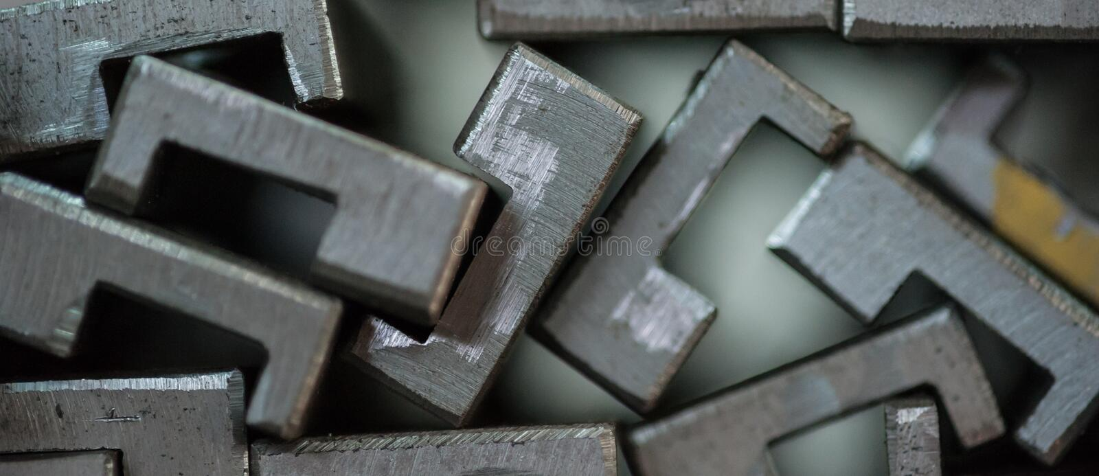 Close up of stacked metal plates royalty free stock image