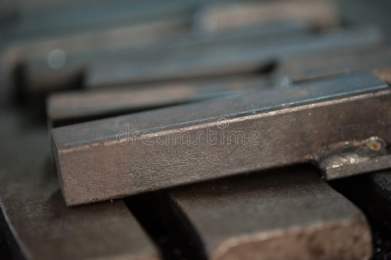 Close up of stacked metal plates royalty free stock photo