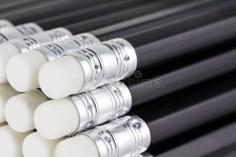Close up of stacked new pencils royalty free stock photo