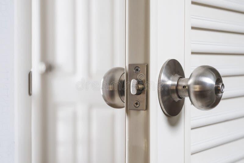 Download Close Up Stainless Door Knob, With Door Open Slightly Stock Image    Image