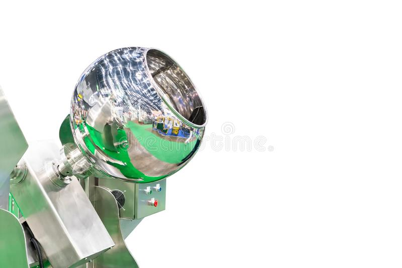 Close up stainless shiny large blender or commercial food mixer machine for industrial isolated on white background with copy royalty free stock photo
