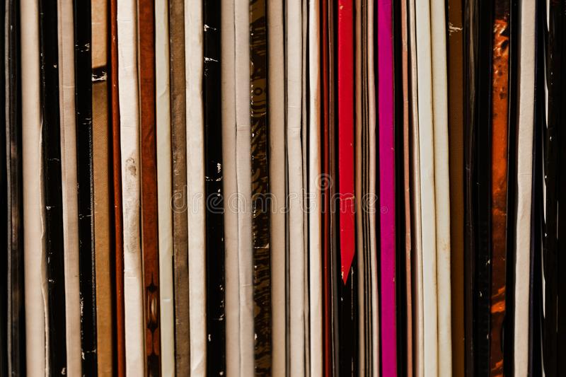 Close Up Standing Vinyl LP Records Colorful Background royalty free stock image