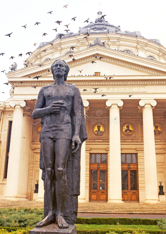 Close-up.Statue.Athenaeum photos stock
