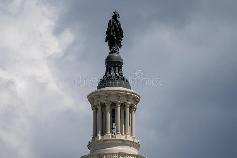 Washington, DC - August 9, 2019: Close up of the Statue of Freedom on top of the US Capitol Buliding royalty free stock photography