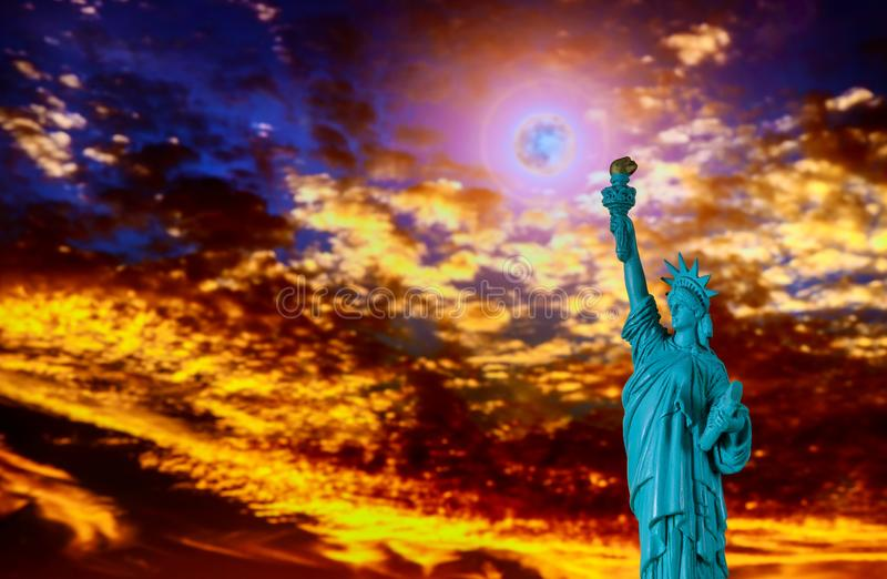Close up of the statue of liberty at sunset Independence day stock image