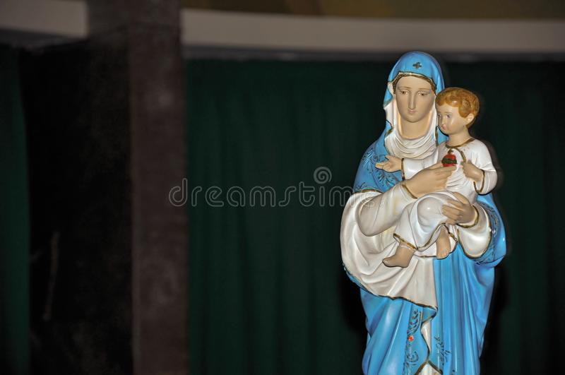 Close-up of statuette with image of Our Lady holding the boy Jesus in the Santuario das Almas church, in the coastal city of Niter. Oi. Located in the Rio de stock image