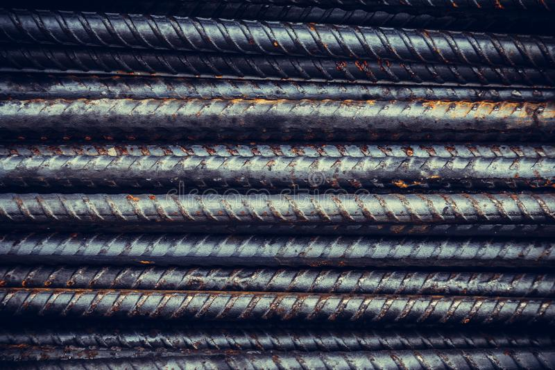 Close up steel bar or steel reinforcement bar in construction si. Te, steel rods bars can used for reinforce concrete. construction background and texture stock images