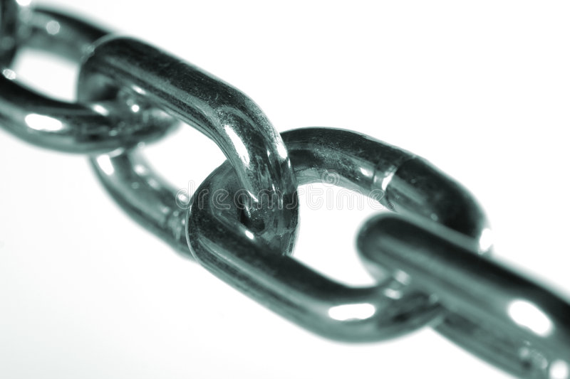 Close up of steel chain links. A close up view of steel chain links, isolated on white background stock image