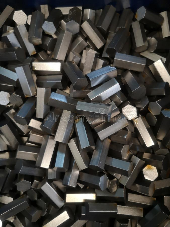 Free Close Up Steel Hexagon Used For Various Industries. Raw Material, Texture Background Royalty Free Stock Image - 162278346