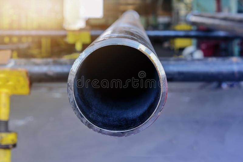 Big Steel pipe. Close- up steel pipe in warehouse stock photography