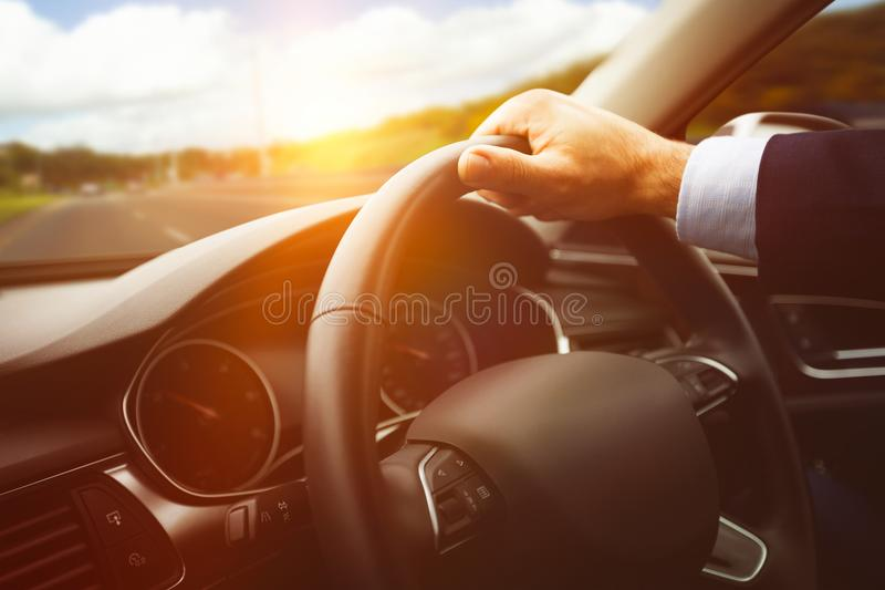 Close-up of steering wheel royalty free stock image