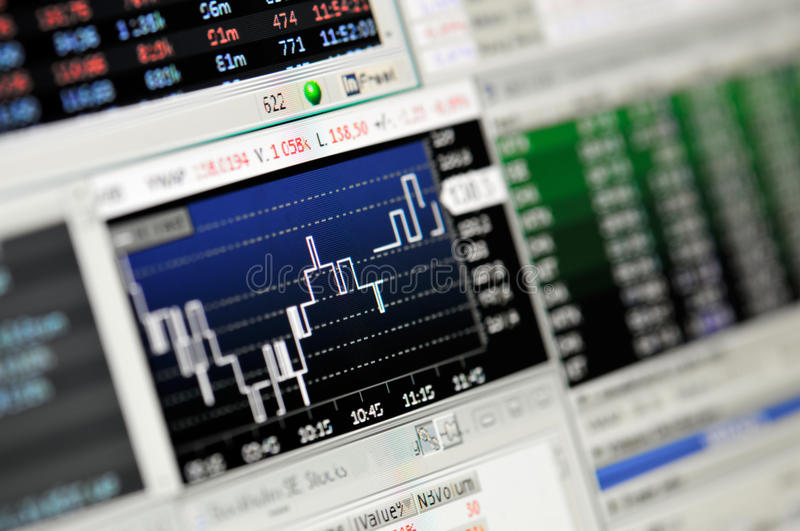 Close-up of stock market values on LCD screen. royalty free stock photos