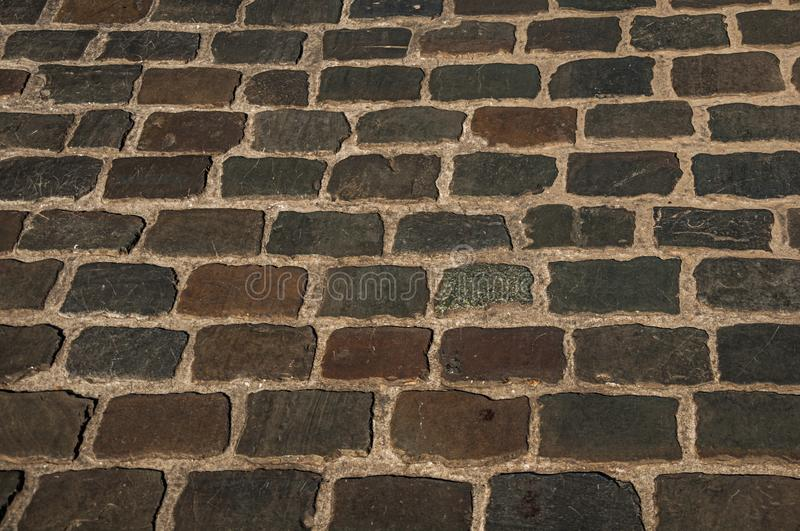 Close-up of stone sidewalk at sunset in Ghent stock photos