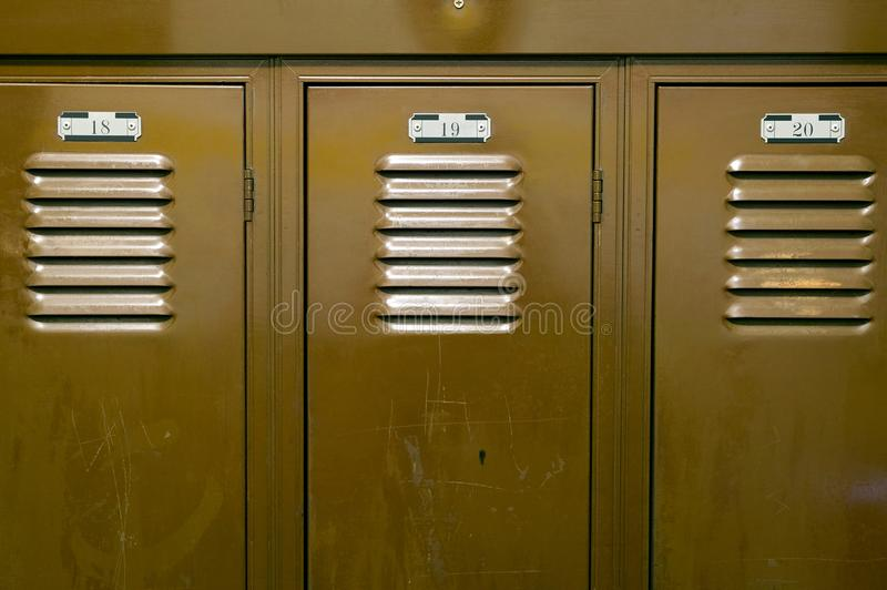 Close up of storage lockers and locker numbers stock photography