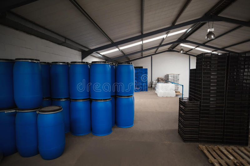 Close up of storage room for containers stock photos