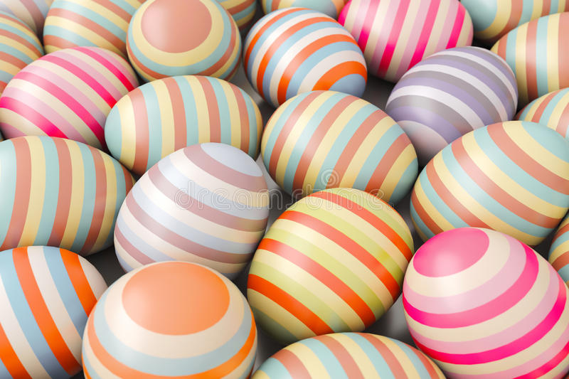 Close-Up of striped easter eggs. Illustration for holiday. 3d render royalty free illustration