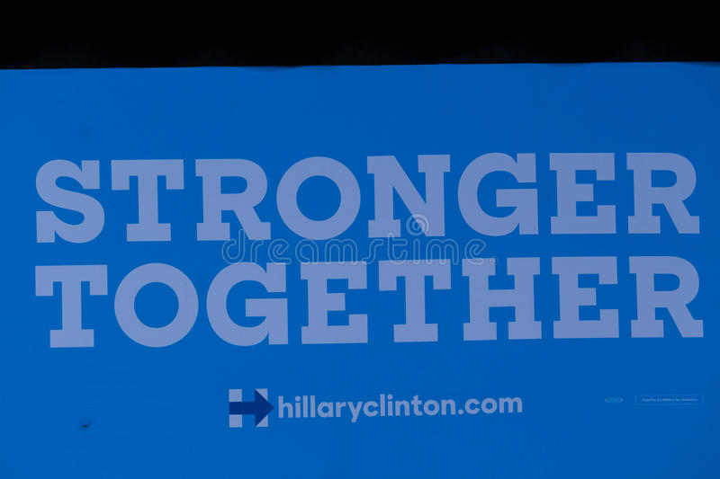 Close Up of Stronger together Sign at Clinton Rally. Harrisburg, PA, USA - October 4, 2016: Large Stronger Together sign at the rally for Presidential candidate stock image
