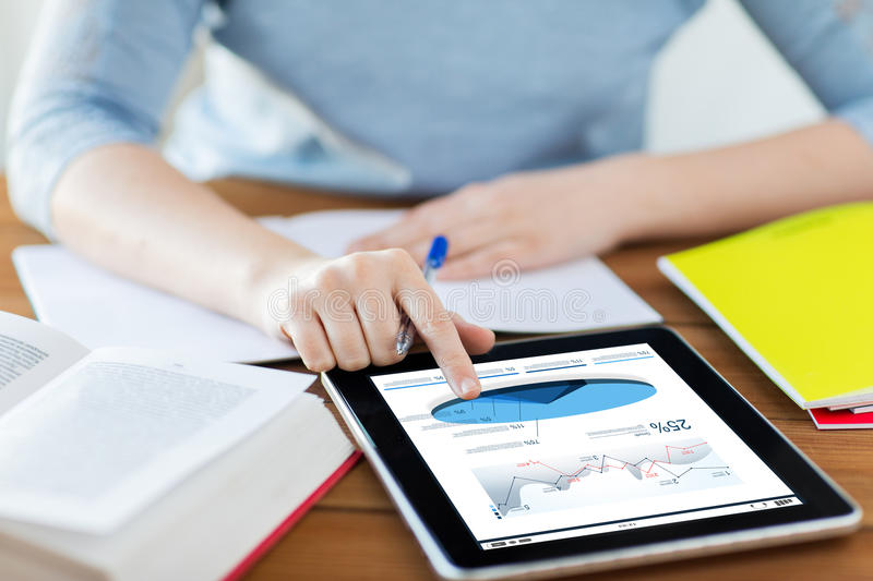 Close up of student with pie chart on tablet pc royalty free stock image
