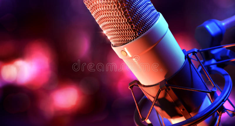 Close up studio condenser microphone and equipment live recording stock photos