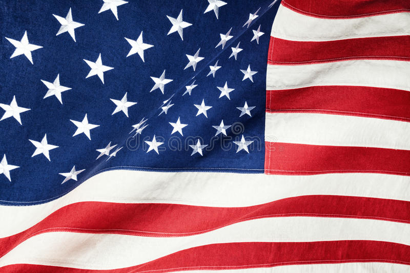 Close up studio shot of rough texture cotton flag - United States of America royalty free stock photo