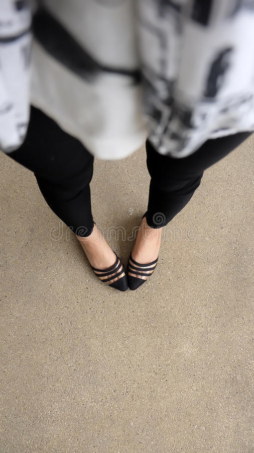 Close up of Stylish Female Black Shoes. Footwear on Floor. Great For Any Use royalty free stock images
