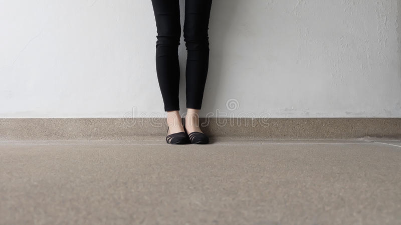 Close up of Stylish Female Black Shoes. Footwear on Floor. Great For Any Use stock photos