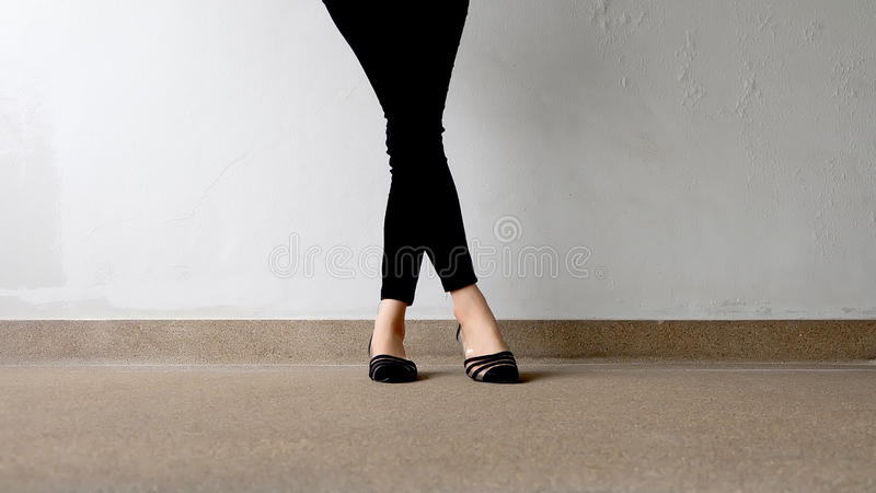 Close up of Stylish Female Black Shoes. Footwear on Floor. Great For Any Use royalty free stock photo