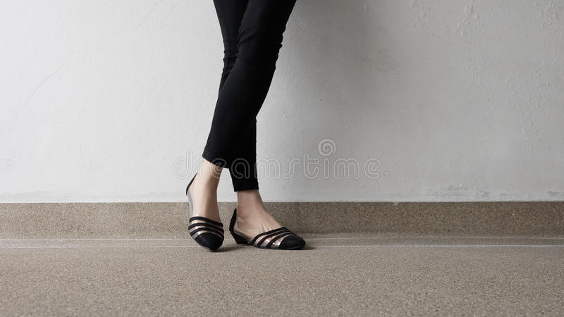 Close up of Stylish Female Black Shoes. Footwear on Floor. Great For Any Use royalty free stock image