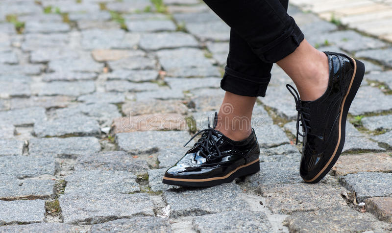 Close up of stylish female shoes. Outdoor fashion shoes footwea stock photos