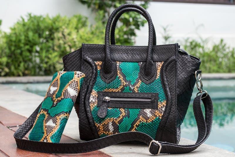 Close up of stylish female snakseskin python luxury bag outdoors. Fashionable and high style expensive female bag. Close up of stylish female snakseskin python stock photo