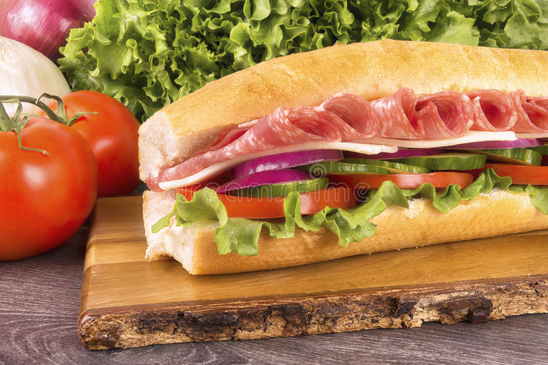 Close up on submarine salami sandwich. Vegetables in background stock photos