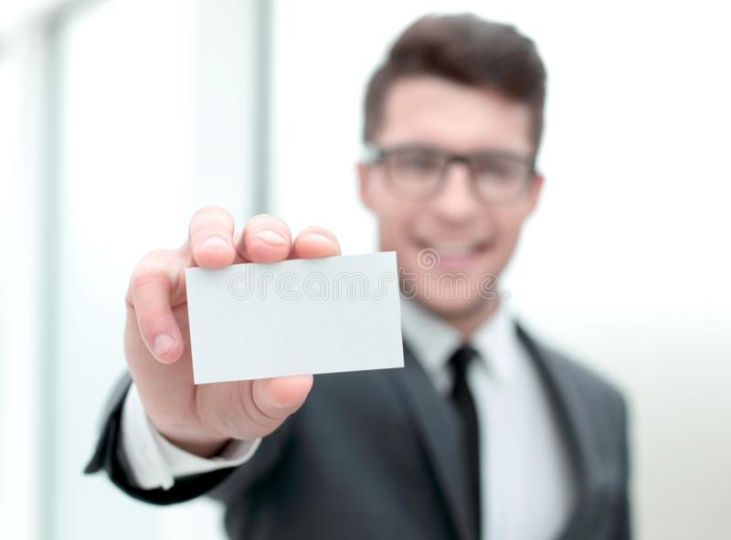 Close up.successful businessman showing his business card stock photos