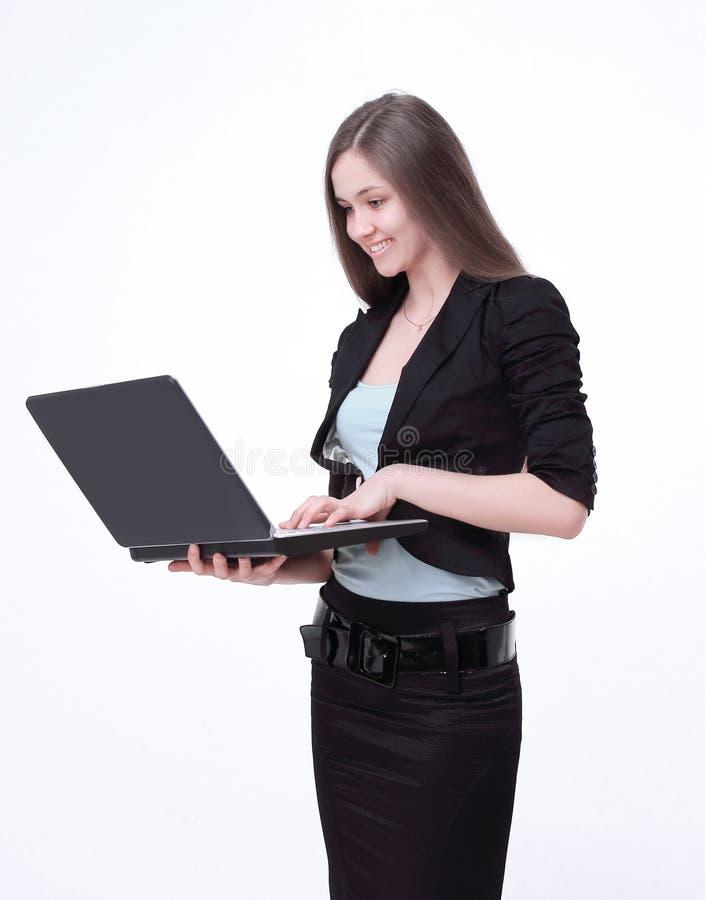 close-up succesvolle zaken met open laptop stock foto's
