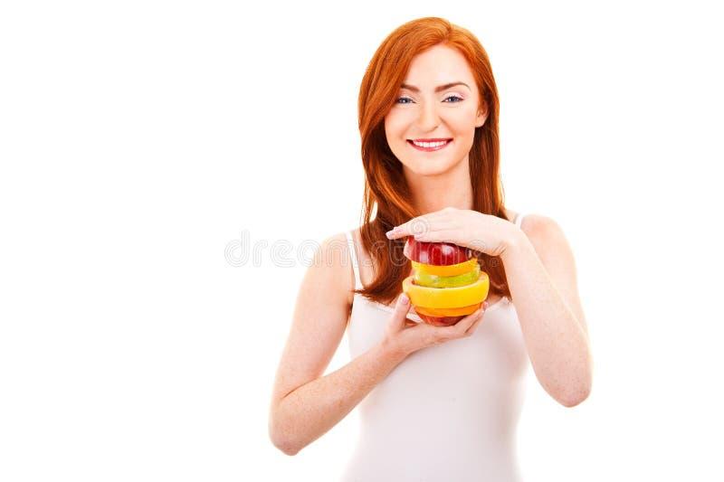 Close-up suculento do fruto A da cara de uma senhora bonita imagem de stock