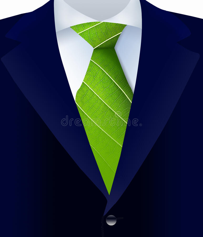Close-up of suit with green tie stock photography