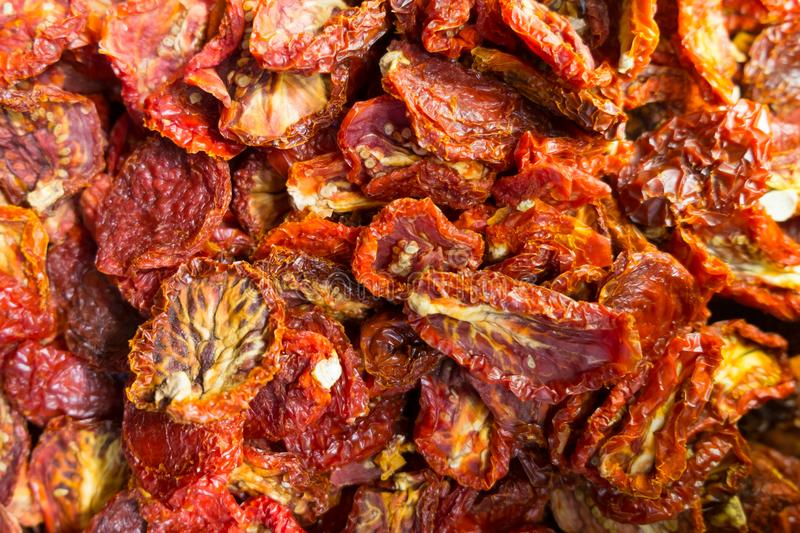 Dried tomatoes from top-view stock photos