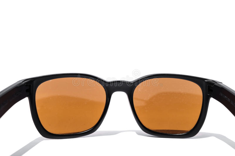 Close up sunglasses rear view, isolated on white background. Close up sunglasses rear view isolated on white background royalty free stock photo